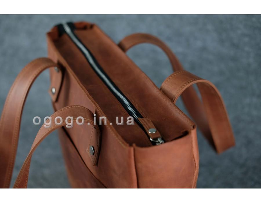 a75a79385be2 Кожаная коричневая женская сумка-шопер ручной работы K00009-1