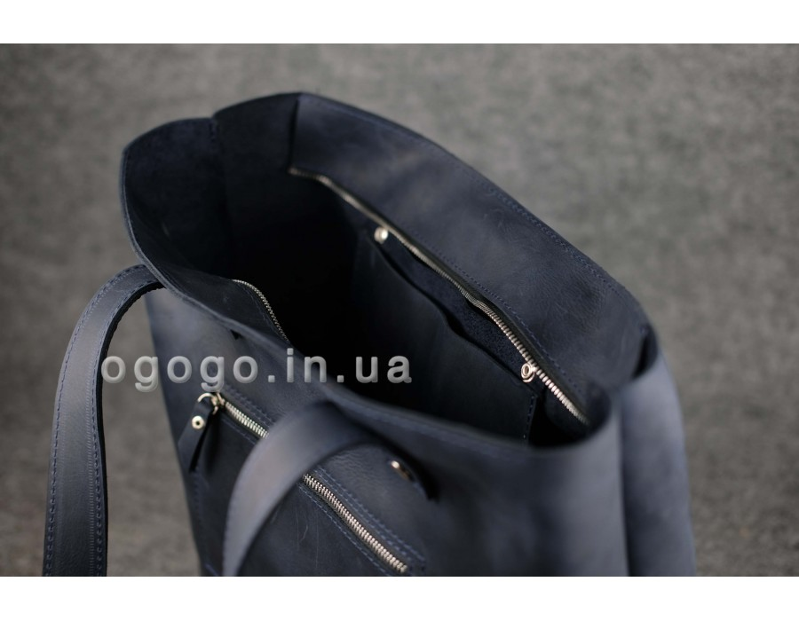 78a34e27b808 Большая синяя кожаная женская сумка шопер K00009-11