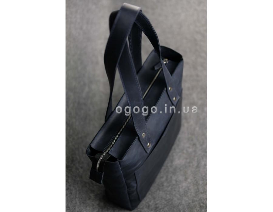 34a57b7c785d Кожаная синяя женская сумка-шопер ручной работы K00009-3