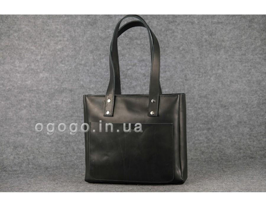 44a142fc587b Кожаная черная женская сумка-шопер ручной работы K00009-4