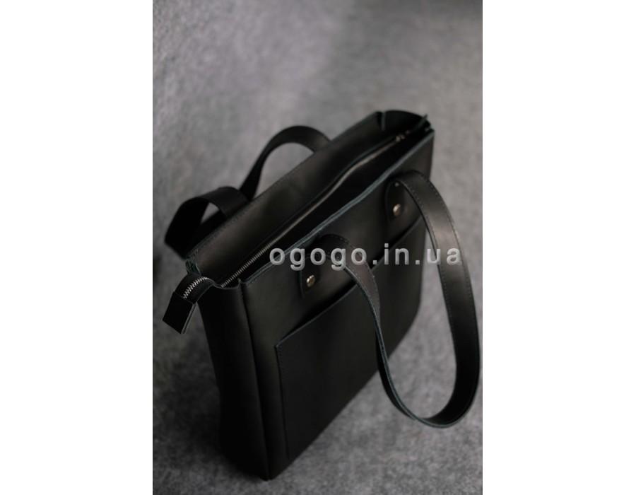 9d79ed69a141 Кожаная черная женская сумка-шопер ручной работы K00009-4