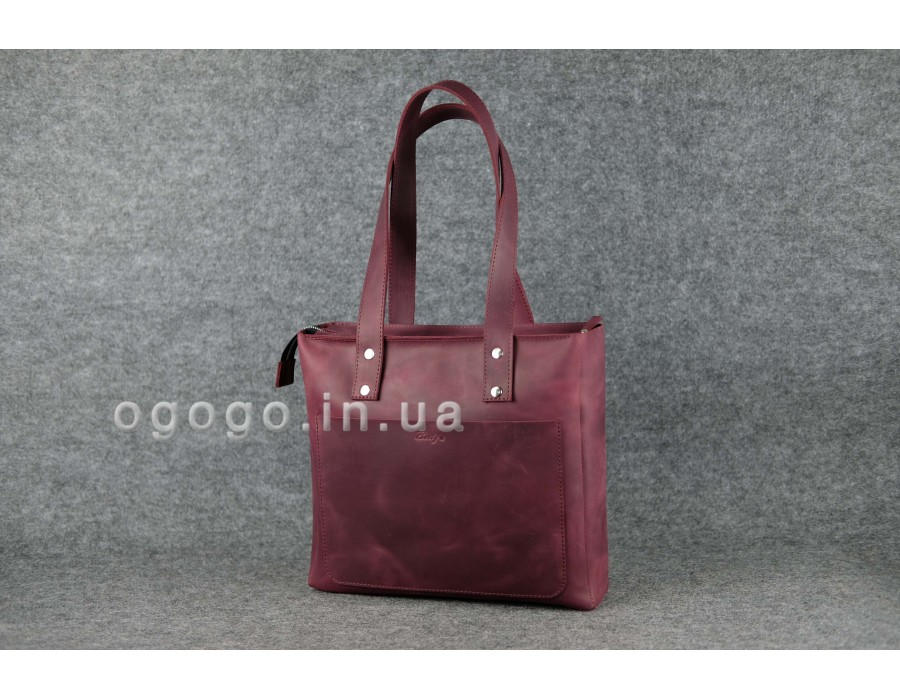 a96bbc6d4240 Кожаная женская сумка-шопер ручной работы. Цвет марсала. K00009-5
