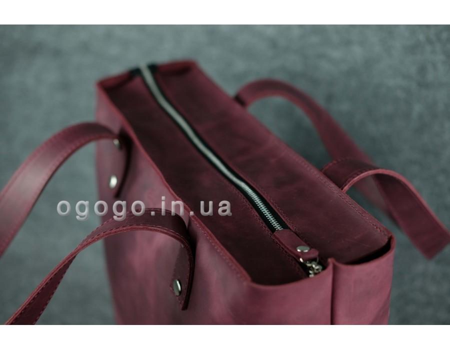 e1c0b5f0cf1f Большая фиолетовая кожаная женская сумка шопер K00009-8