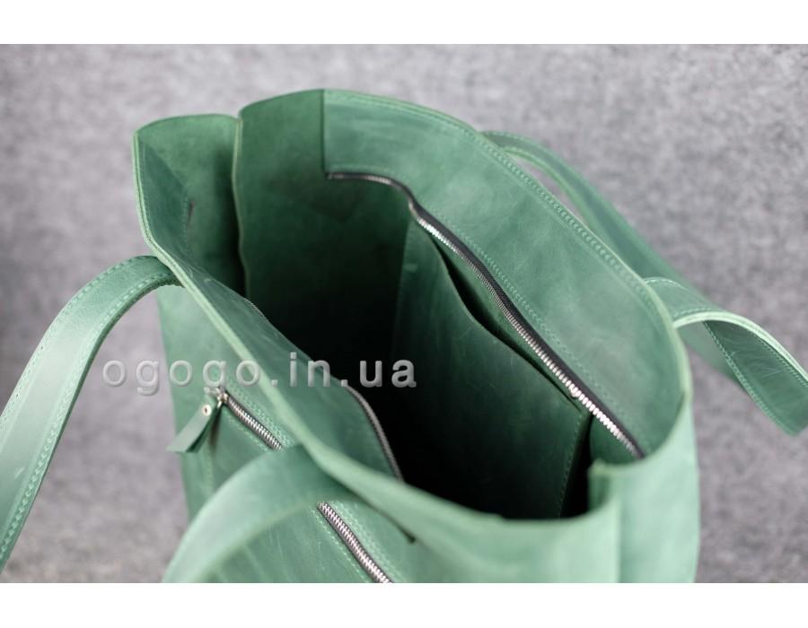 fff17c45a5d1 Купить зеленую кожаную женскую сумку шопер - магазин Огого