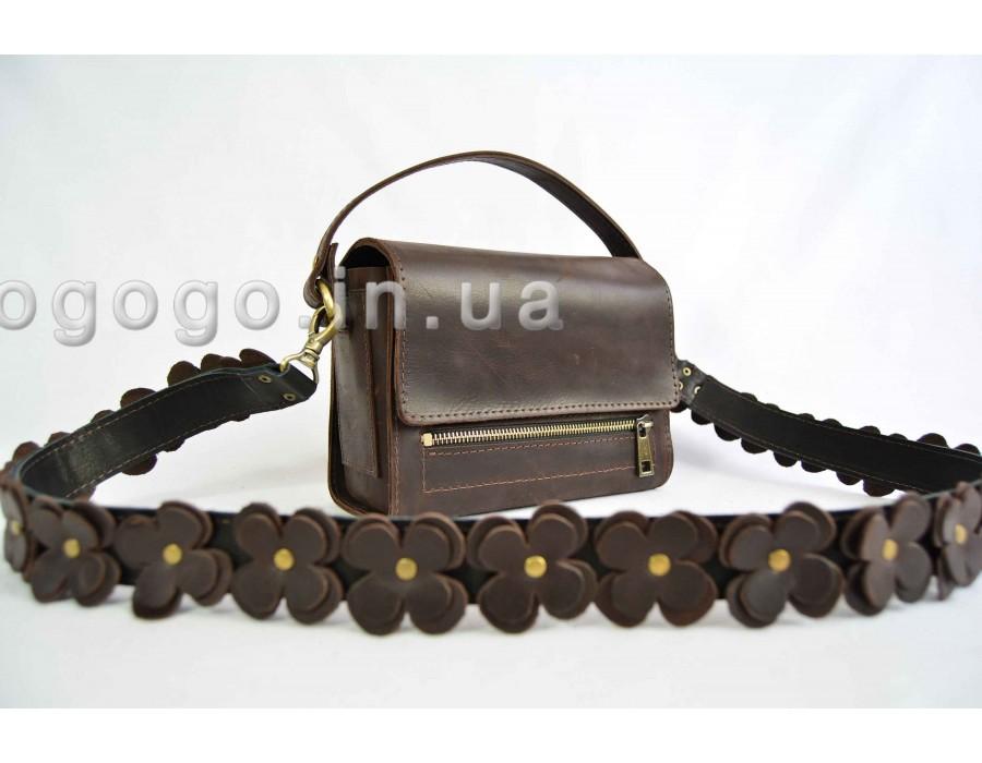 Женская сумочка из натуральной кожи коричневого цвета ручной работы К00001-6