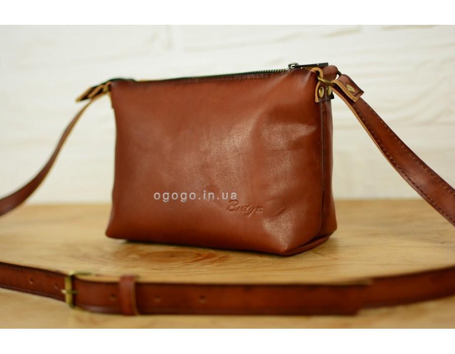 82848575aee0 Стильная коричневая женская сумка кожа ручной работы K00003-3