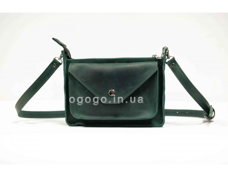 aa7ff7c4a6f0 Качественная кожаная женская сумка зеленая K00004-3