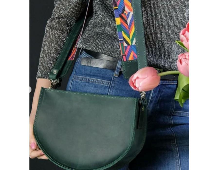 Кожаная сумочка с цветным ремнем K00005-3