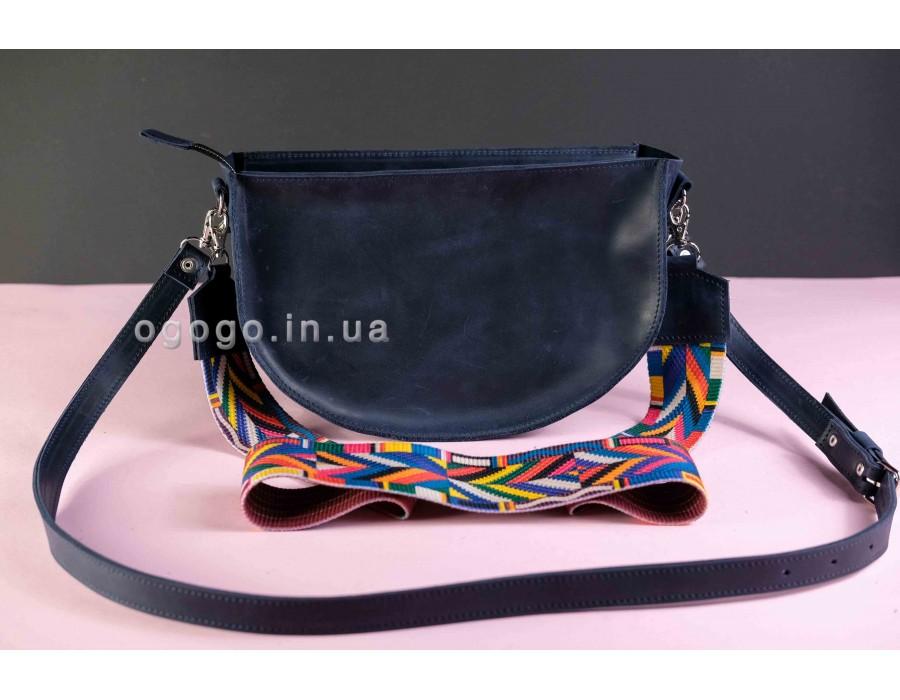 Женская сумка с цветным ремешком из натуральной кожи K00005-9