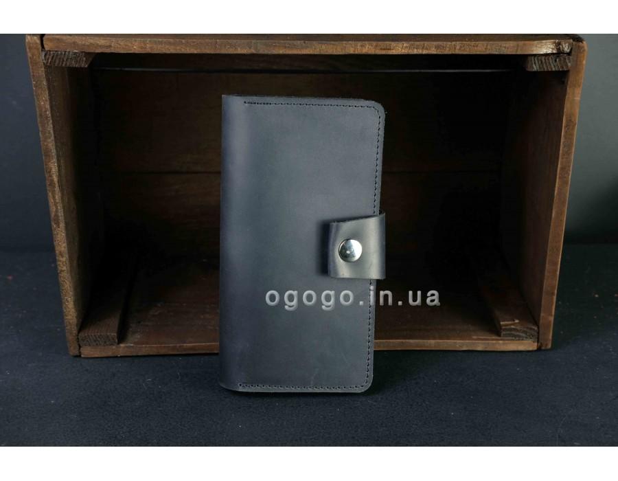 Черный матовый мужской кошелек K00006-11