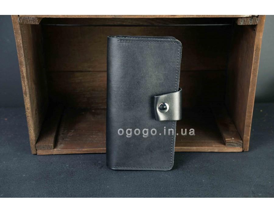 Мужской черный кошелек из натуральной кожи ручной работы K00006-12