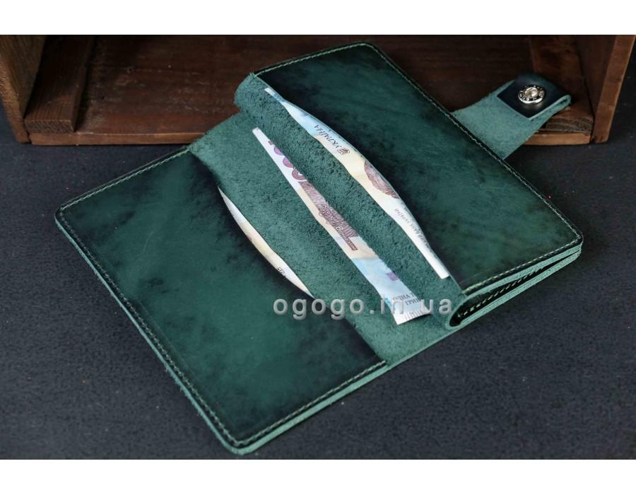Кожаный кошелек книжка ручной работы K00006-4