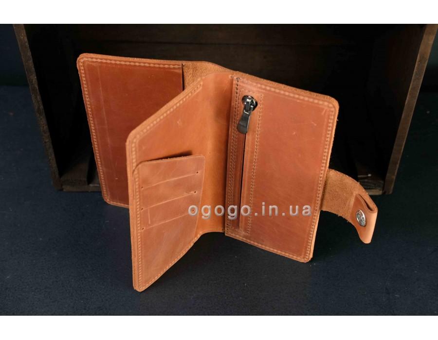 Большой кожаный кошелек на кнопке K00006-5