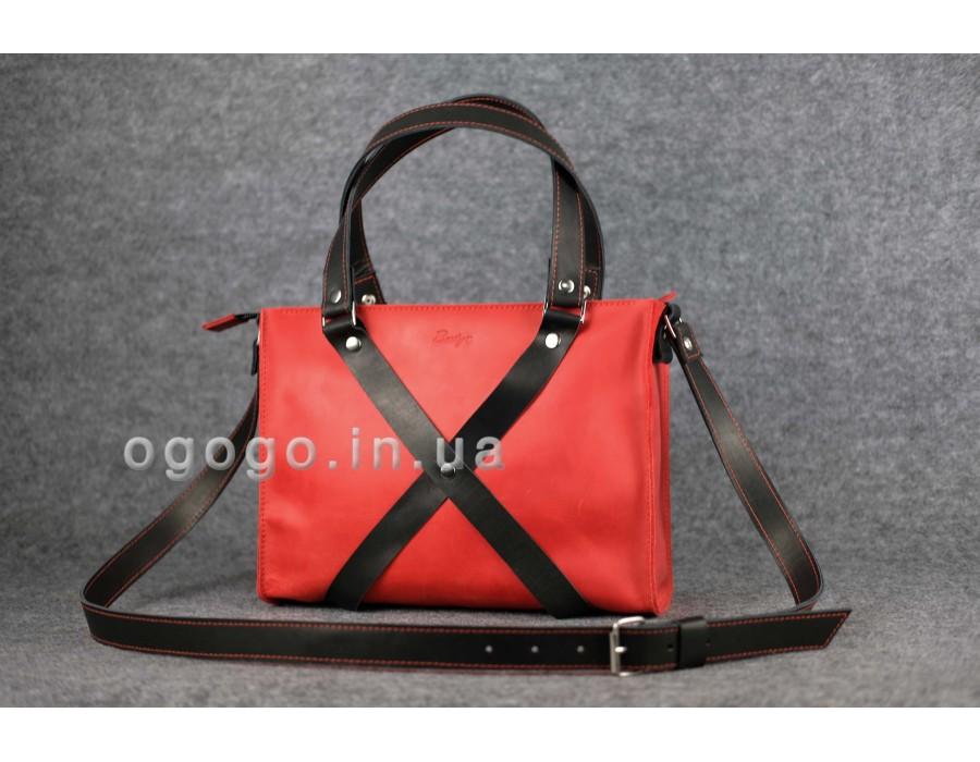 95150516af90 Женская кожаная сумка ручной работы красная K00006-5