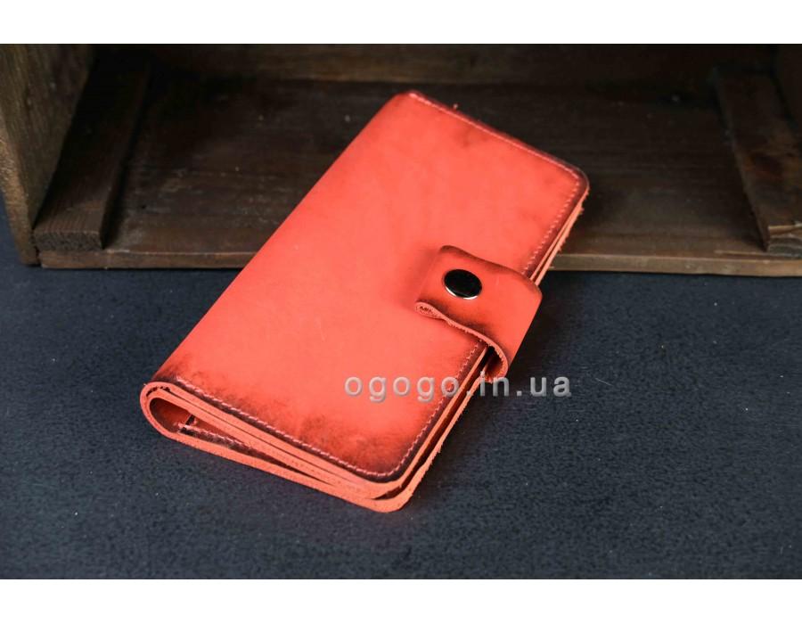 Красный кожаный кошелек клатч ручной работы K00006-8