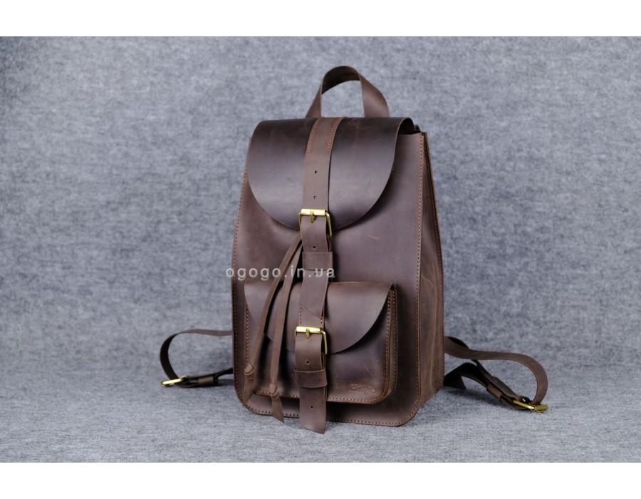 b28cd9f277df Кожаный рюкзак ручной работы темно-коричневый k00007-3