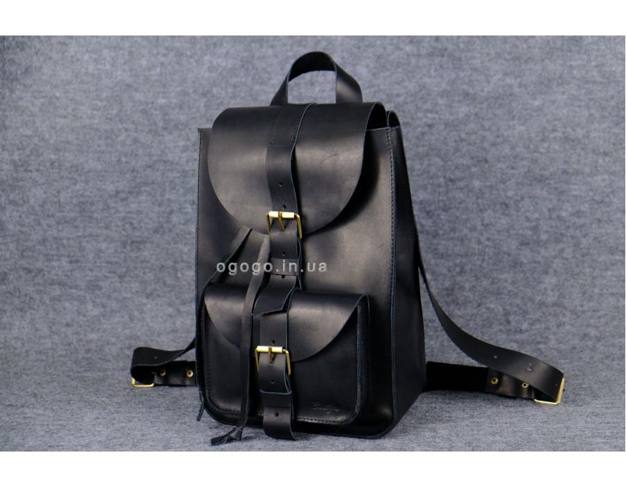 Кожаный рюкзак ручной работы черный k00007-6