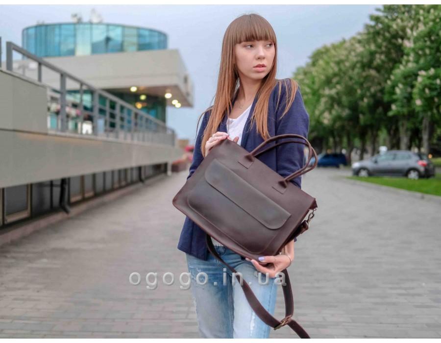 Кожаная женская сумка мессенджер ручной работы K00008c
