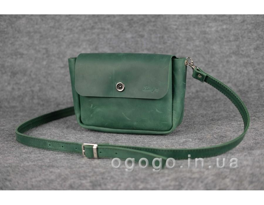 c38d0accf2f6 Зеленая кожаная женская сумка через плечо K00012-12