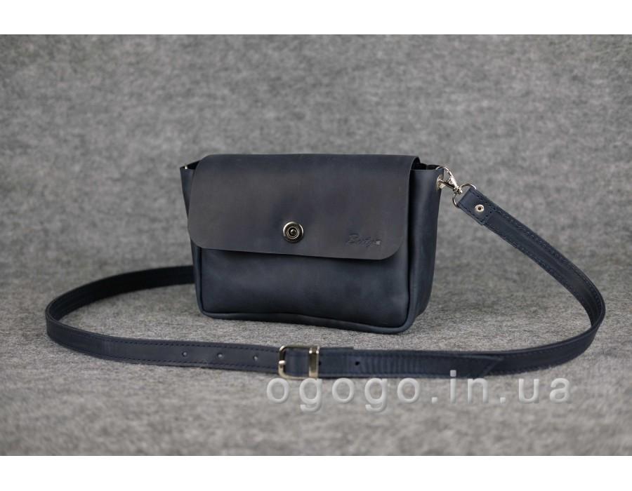 d0d058acefa8 Синяя кожаная женская сумка через плечо K00012-13