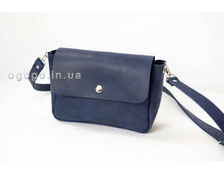 Синяя кожаная женская сумка через плечо K00012-13