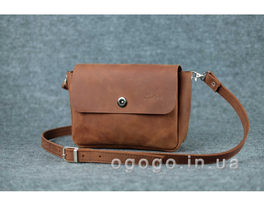 ddbe9dbaedbf Кожаная женская сумка через плечо коричневого цвета K00012-14