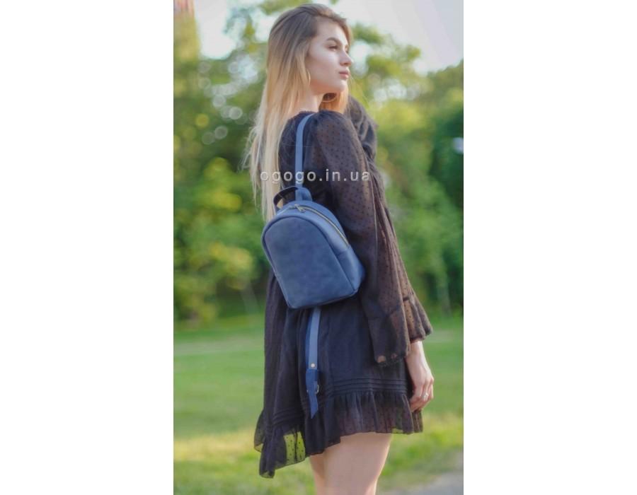 Компактный синий кожаный рюкзак ручной работы K00017-11