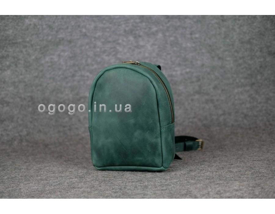 Зеленый кожаный мини рюкзак K00017-12