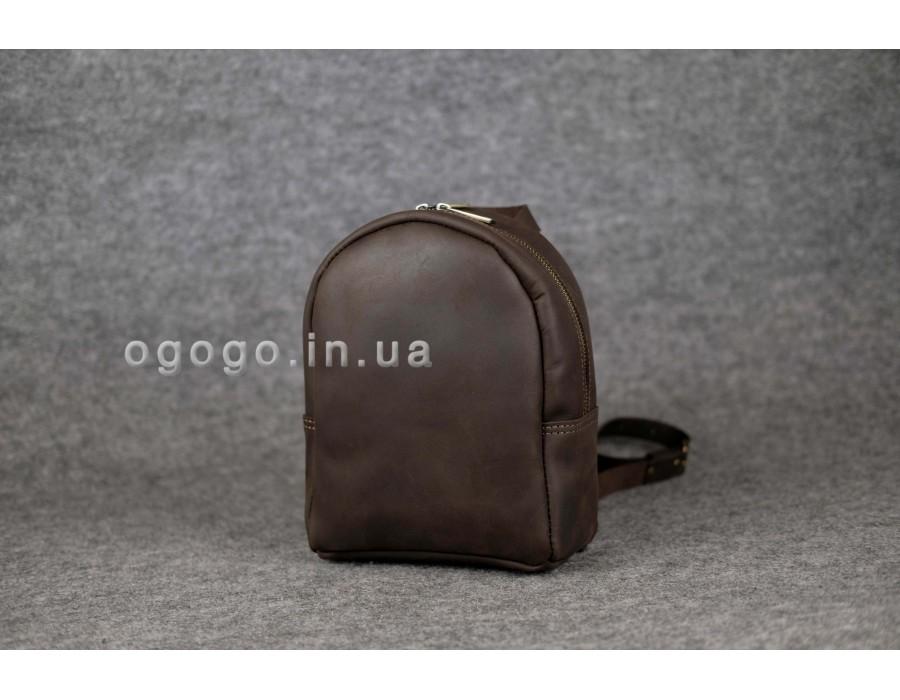 Коричневый кожаный мини рюкзачок ручной работы K00017-13