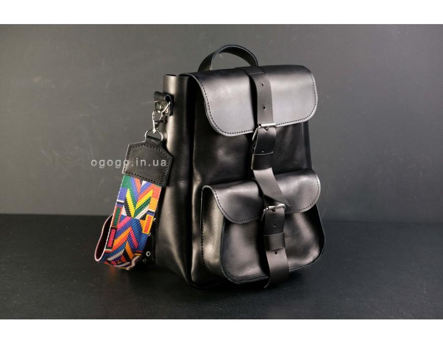 Черный женский рюкзак трансформер K00025-2