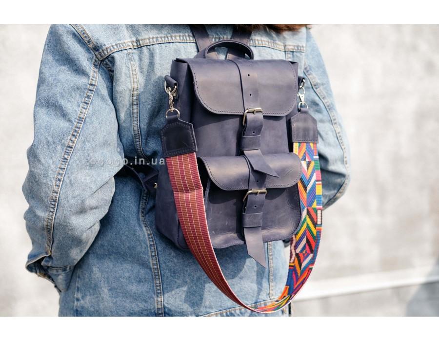 Синий женский кожаный рюкзак из натуральной кожи K00025-3