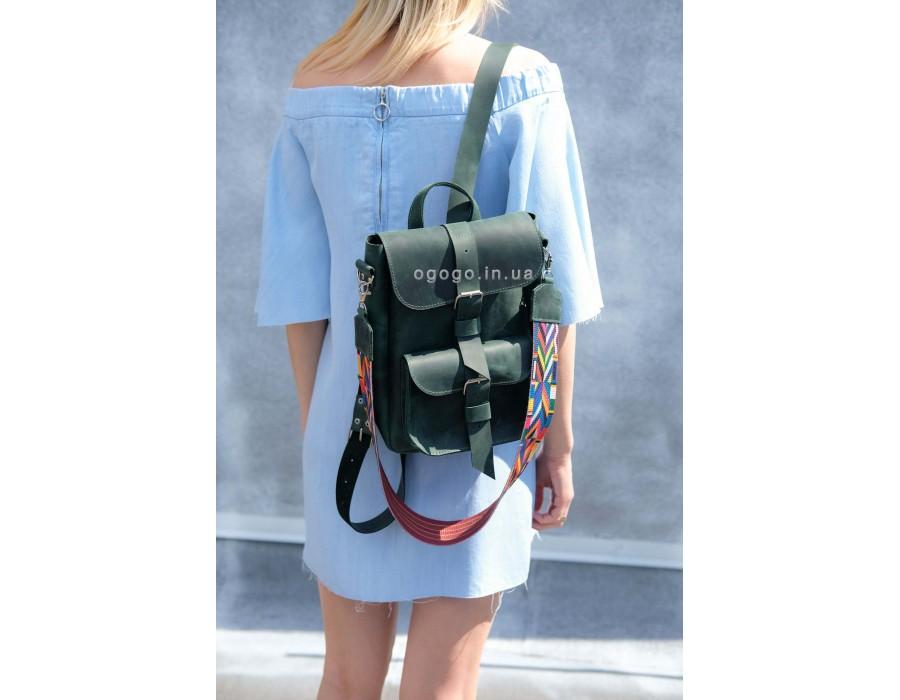 Кожаный рюкзачок изумрудного цвета K00025-5
