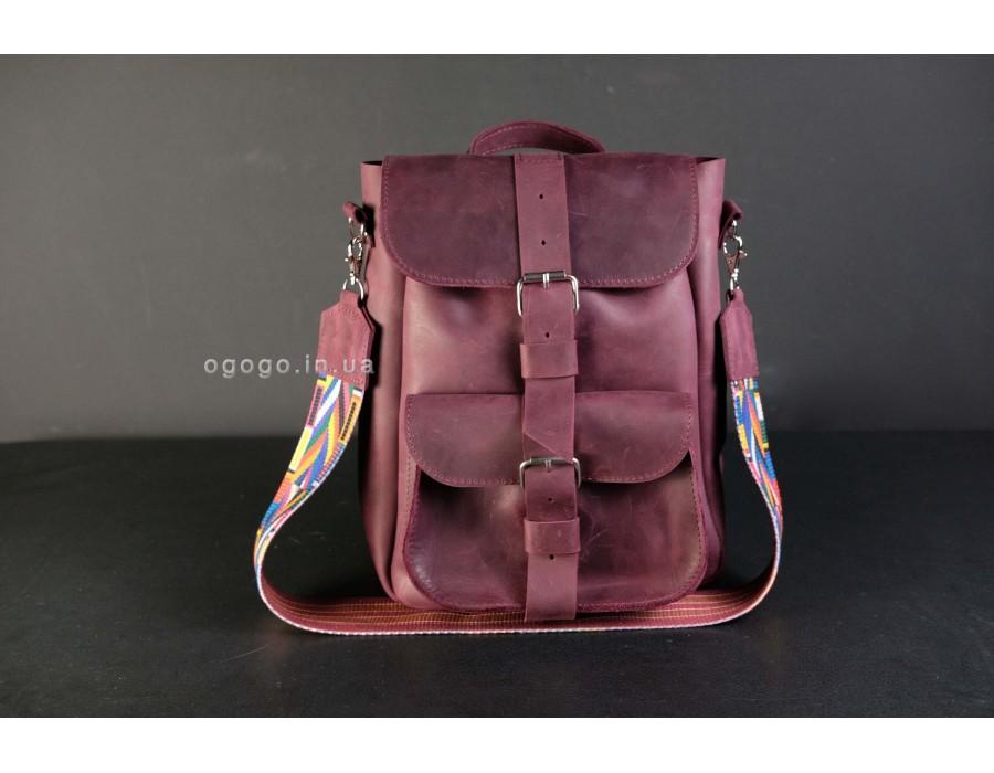 Бордовый кожаный рюкзак из натуральной кожи K00025-7