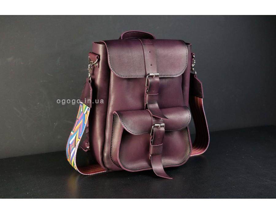 Кожаный рюкзачок цвет марсала K00025-8