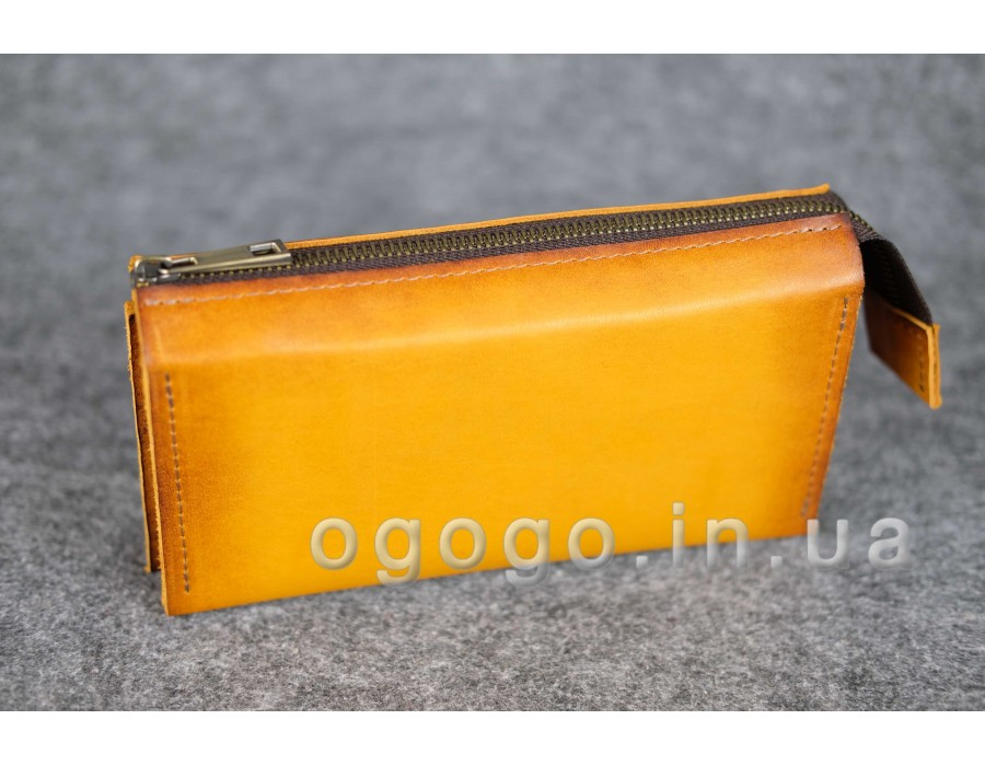Желтый кошелек вместительный из итальянской кожи краст K00026-11