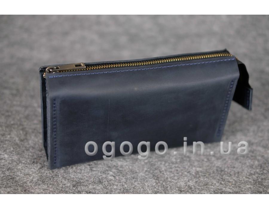 Вместительный кожаный кошелек тревел на много карточек K00026-4