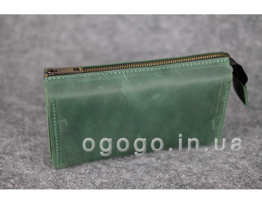 Travel кожаный  ручной работы из зеленой кожи Crazy Horse K00026-5