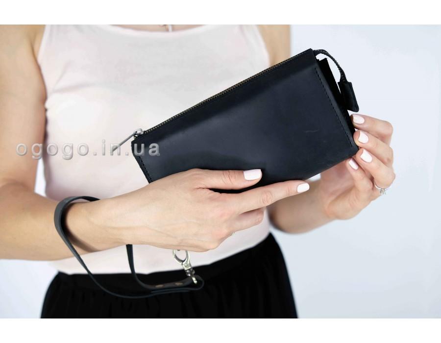 Черный кожаный кошелек-клатч универсальный K00026-6