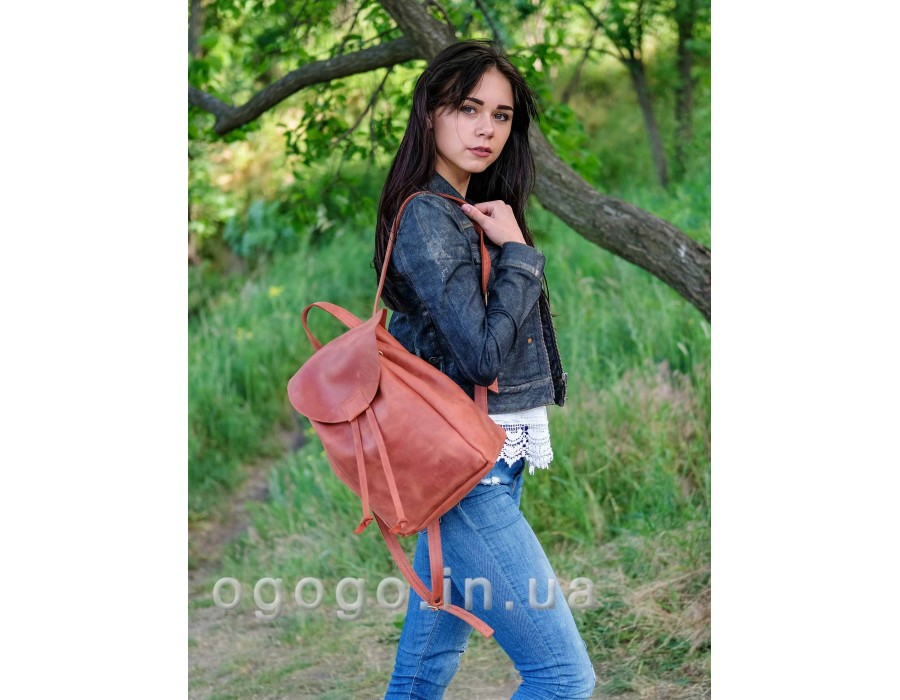 Удобный женский кожаный рюкзак из кожи крейзи хорс ручной работы K00027-2