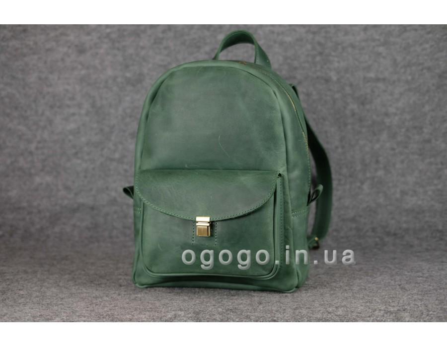 Зеленый кожаный рюкзак с потайным карманом K00028-1