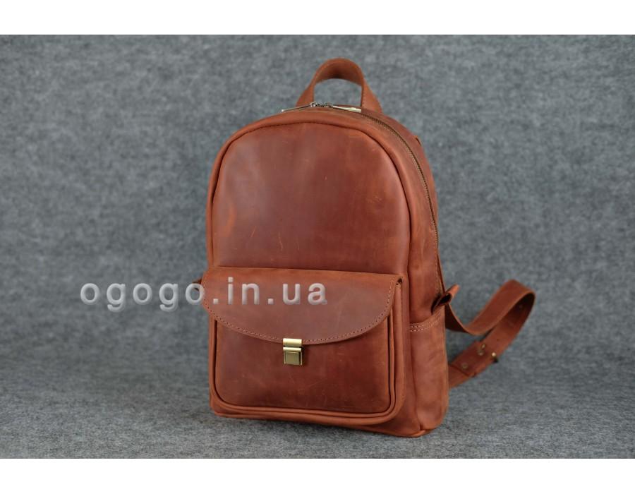 Кожаный рюкзак ручной работы коньячного цвета K00028-2