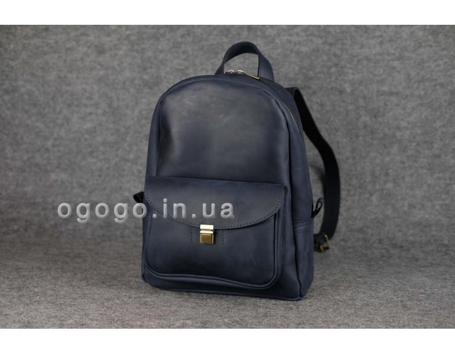 Синий рюкзак из кожи крейзи хорс хенд мейд K00028-4