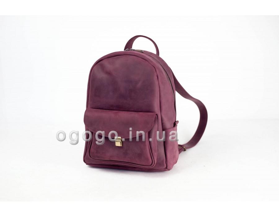 Кожаный рюкзак винного цвета ручной работы K00028-5