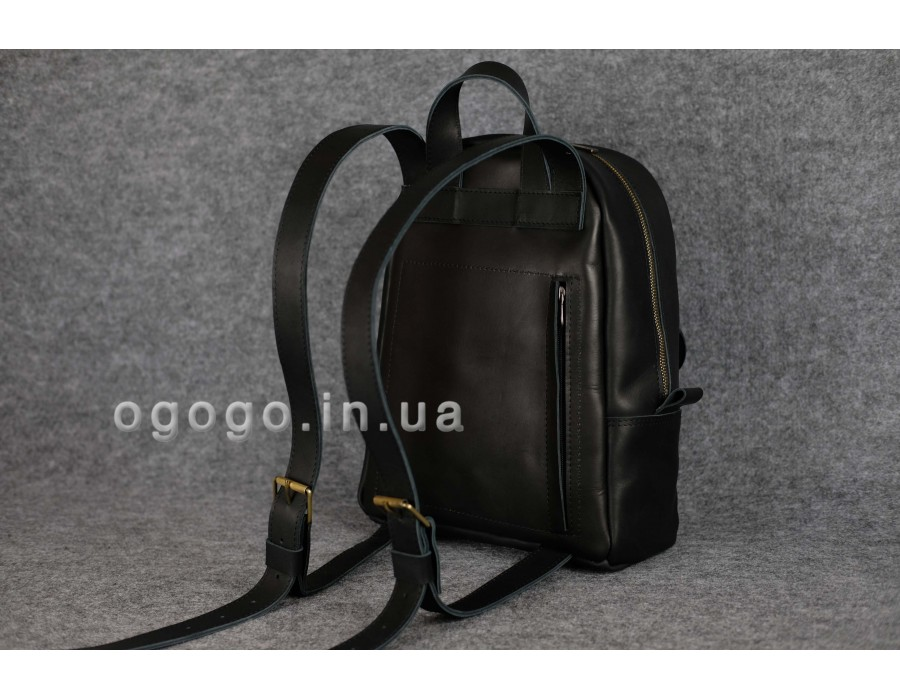 70f48c2f0967 Черный кожаный рюкзак среднего размера с потайным карманом K00028-6