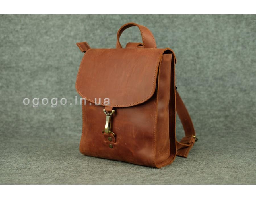 Оригинальный кожаный рюкзачок ручной работы цвет коньяк K00031-1