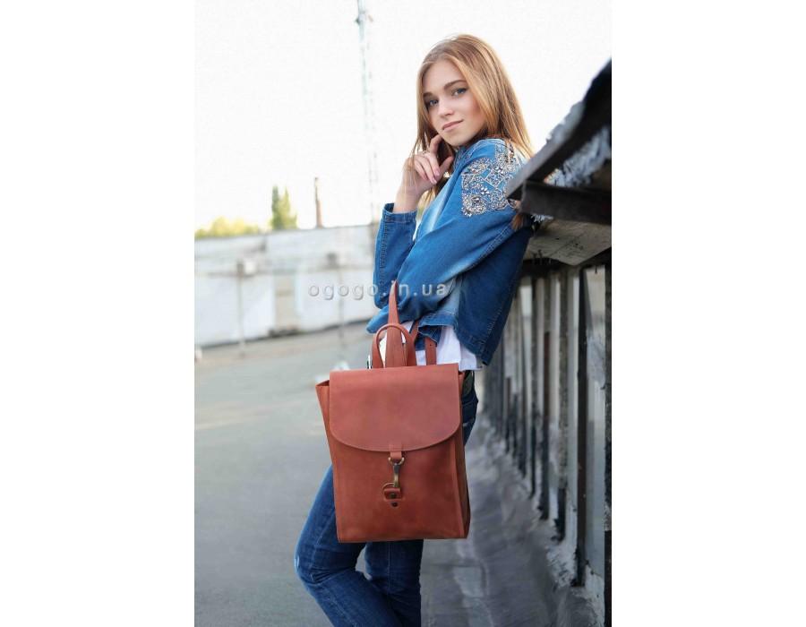 Качественный кожаный рюкзак ручной работы K00031-13