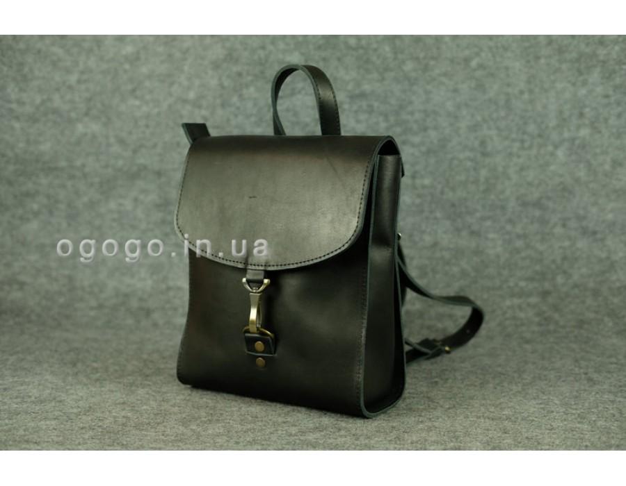 Черный мини рюкзачок из натуральной кожи для прогулок K00031-2