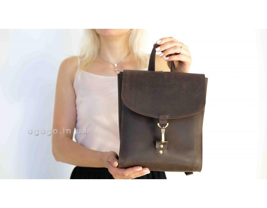 Кожаный рюкзак на карабине ручной работы K00031-4