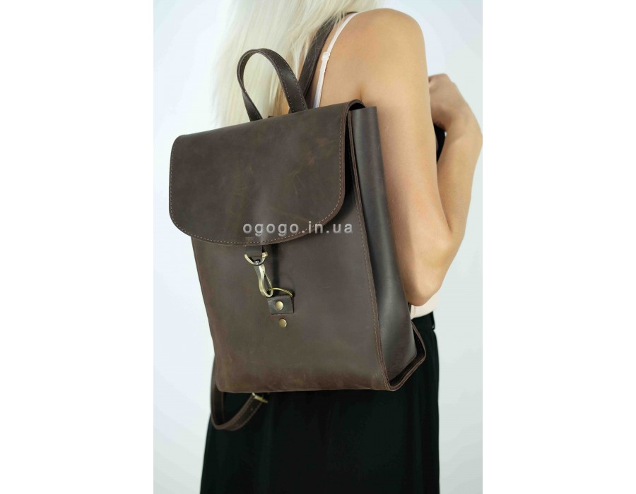 Вместительный кожаный рюкзак ручной работы K00031-5