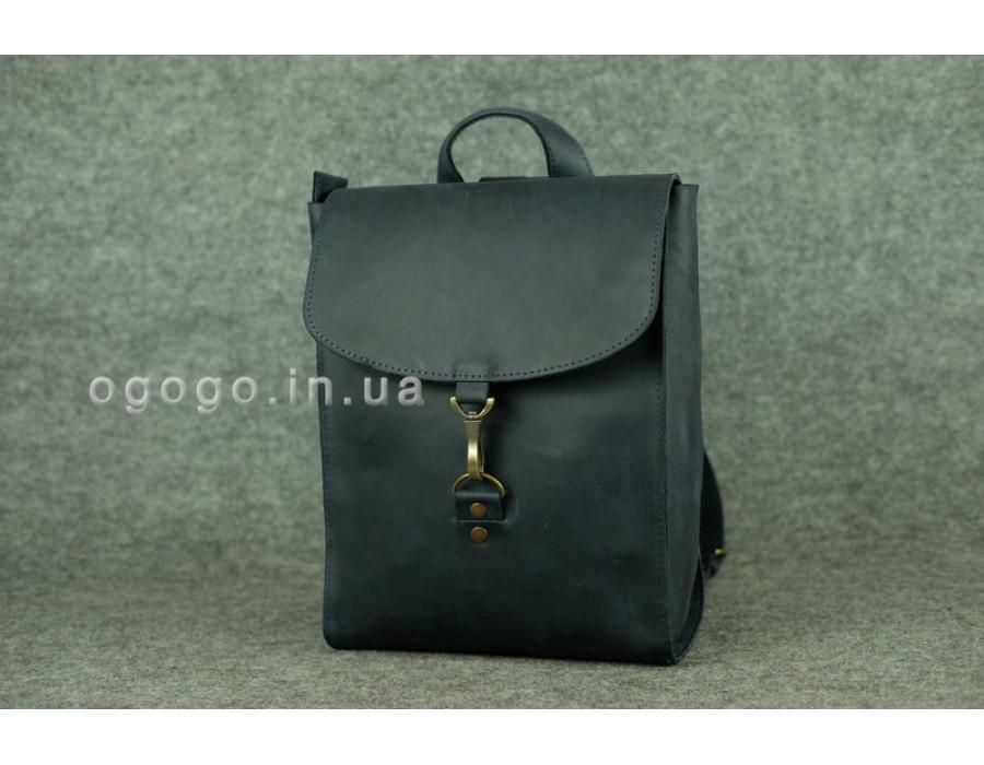 4bf2b41a9d9a Синий кожаный рюкзак среднего размера ручной работы K00031-6